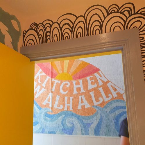 mural nearby the kitchen, kitchen walhalla at vegane glorie